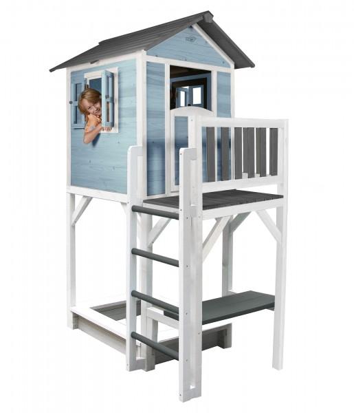 """Holzspielhaus """"Sun XXL"""" mit Leiter + Rutsche + Sandkasten 168x114x249cm aus Holz in blau-weiß"""