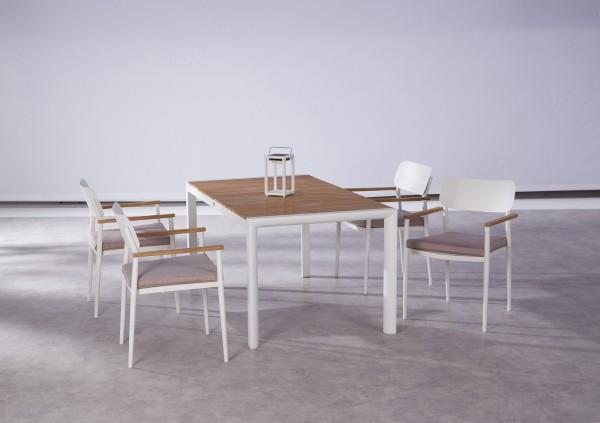 "Gartengruppe ""Jona"" 9-tlg. weiss/Teak Tisch 160x90cm 4xStapelsessel inkl. Sitzkissen Sitzgruppe"