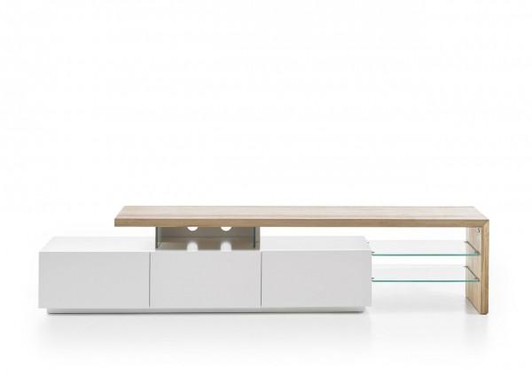 """TV-Lowboard """"Alva II"""", Weiss matt, Asteiche massiv, Glas, 204x44x40cm"""