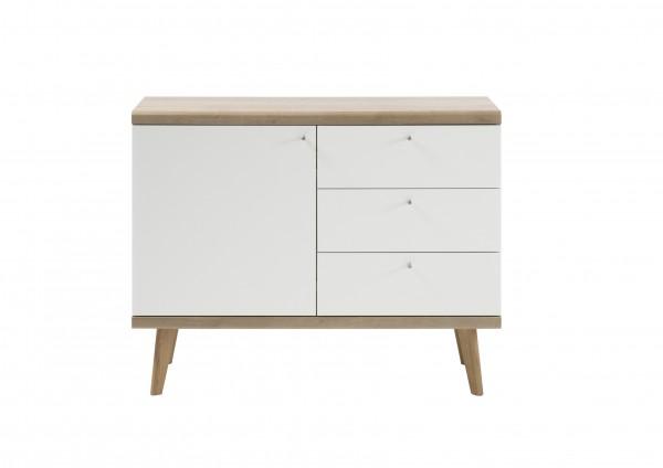 """Sideboard """"Scandic"""", Eiche Riviera NB/weiß matt, 107 x 83 x 40 cm, Wohnzimmer, Schrank"""