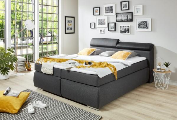 "Boxspring-Bett ""Ludwig"" 180x200cm, graphit grau, verschiedene Ausführungen"