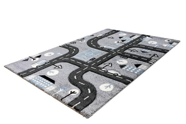 """Kinderteppich """"Maxim"""" silber Straßenmotiv 120x170cm Teppich Kurzflorteppich Spielteppich"""