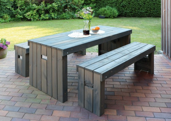 """Holz-Garnitur """"Hubert"""", 3er-Set, grau, Gartenset, Gartensitzset, Holzganitur, Tisch, Bänke, Garten"""
