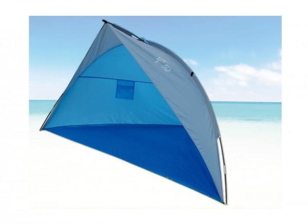 "Strandmuschel ""Sola II"" 240x125x125cm blau faltbar Polyester Sonnenschutz UV 80+"