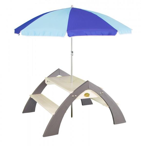 """Picknick-Set """"Ella"""" aus Zedernholz mit Sonnenschirm in weiß grau 98x119x65cm Picknicktisch"""