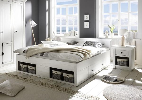 """Bett """"Feres L"""" mit Bettschubkästen, Pinie Weiss Nachbildung, 195x92x212 cm"""