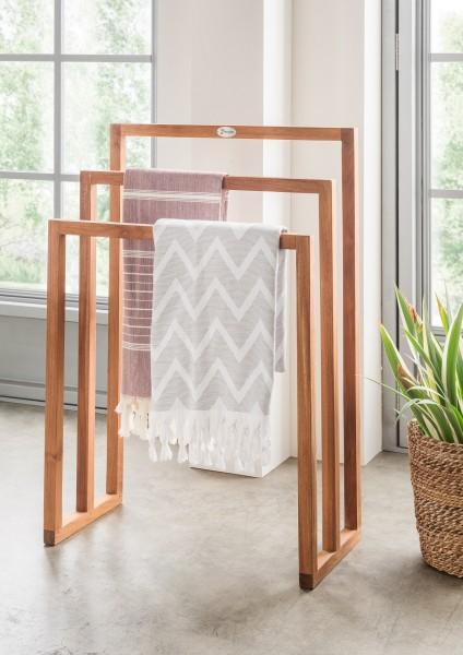 """Handtuchhalter """"Trixy"""", Teakholz, 60 x 30 x 70-90 cm, Handtuchständer, Badezimmer"""