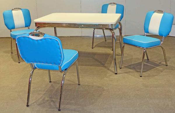 """Tischgruppe Set """"Seliana II"""" Diner Set blau/weiss Bistrotisch 4xStuhl Küchenset Essgruppe"""
