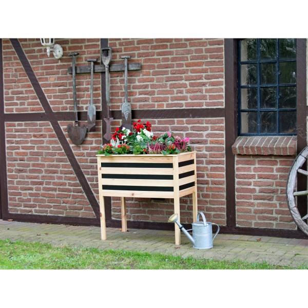 """Pflanzkasten """"Linne"""" auf Beinen Kiefernholz naturfarbig 88x48x90cm Blumenpflanzkasten Garten"""
