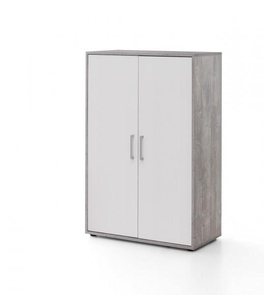 """Schrank """"Anna"""" beton, weiß 73x110,5x37cm 2 Türen breit Büroschrank Aufbewahrungsschrank"""