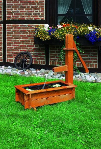 """Holztrog """"Marietta II"""" honigbraun imprägniert eckig 45x45x95cm Wasserspiel Gartendekoration"""