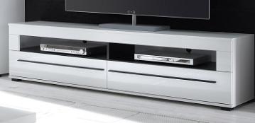 "Lowboard ""Drucha II"" TV Bank, Hochglanz weiß, Gerätefächer, 180x47x42 cm"