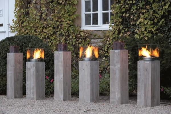 """Designer Säulenfeuer """"Viktoria III"""", 3er-Set, verschiedene Größen, Dekofeurer, Gartendeko, Wohndeko"""