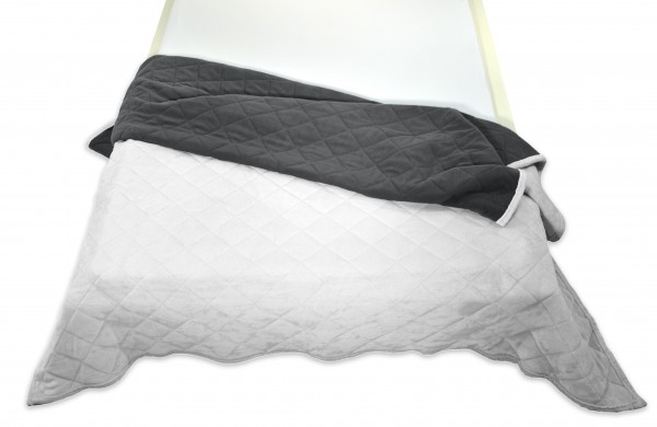 """Tagesdecke """"Bella"""" grau Wendeoptik Rautensteppung Polyester Microfaser-Nicky Plüsch 220x240cm"""