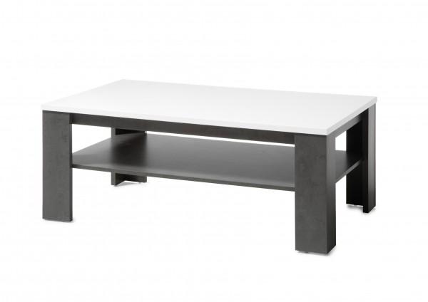 """Couchtisch """"Tolero"""", Dark Concret/weiß Hochglanz, 118 x 46 x 72 cm, Wohnzimmer, Sofatisch"""
