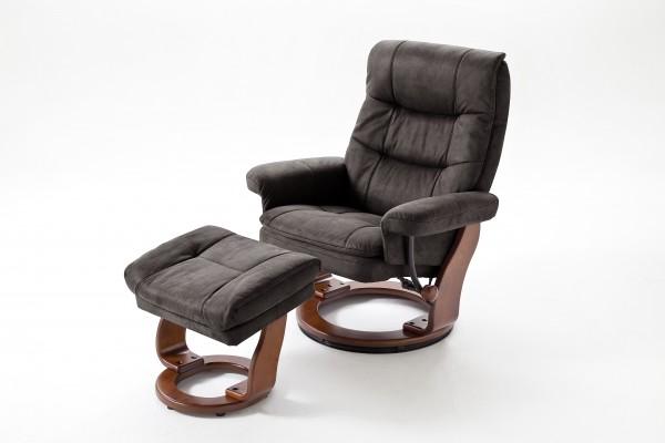 "Relax Sessel ""Andy"" mit Hocker schwarzbraun/natur Polyester Holzgestell 100kg belastbar 83x101x83cm"