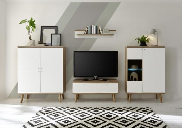 """Wohnwand """"Scandic IV"""", Eiche Riviera NB/weiß matt, 4er-Set, 324 (304) x 160 x 19 - 40 cm, Wohnzimmer"""
