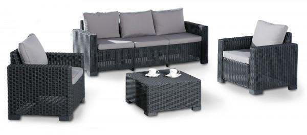 "Lounge Gruppe ""Gelia"" 4-tlg. Kunststoff in graphit/hellgrau Tisch 3-Sitzer 2xSessel Gartengruppe"