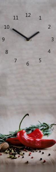 "Wanduhr Quartzuhr ""Peperoni"", MDF Uhr grau schwarz Peperoni rot Gewürze 60x20x5 cm"
