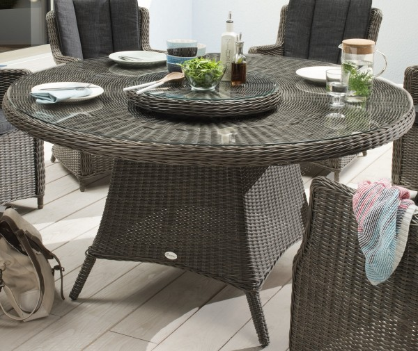 """Tisch """"Honey"""", vintage grau, 150 Ø x 76 cm, mit Glasplatte + Drehscheibe, Gartentisch, Garten"""