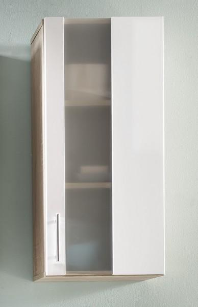 """Hängeschrank """"Ines"""", Eiche sägerau/weiß Melamin, Badezimmerschrank, 33 x 70 x 21 cm"""
