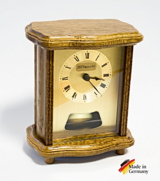 """Analoge Tischuhr Standuhr """"Châteaudun"""" Uhr Retrolook, Antik, Pendel, Uhr, Küche, Wohnzimmer, Diele/Flur, 16x13 cm, in Eiche"""