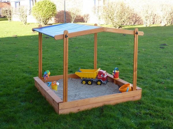 """Sandkasten """"Sandy VI"""", Kiefer, 140x140x132cm, Kindersandkasten, Garten, Spielzeug, Kinderspielzeug"""