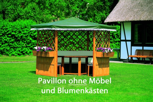 "Pavillon ""Milena"", honigbraun/grün, Kiefer, 309 x 309 x 211 cm, ohne Möbel, Gartenpavillon, Garten"