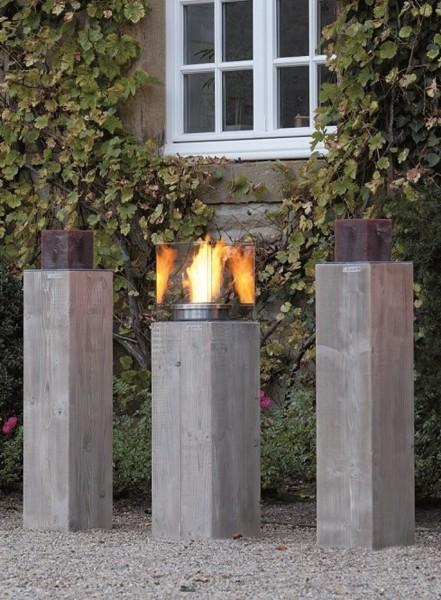 """Designer Dekosäulen """"Viktoria I"""", Holz, 24 x 24 x 97 cm, 2er-Set, Kerzenständer, Dekoständer, Garten"""