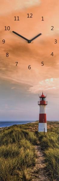 """Wanduhr Quartzuhr """"Leuchtturm"""", MDF Uhr blau grün orange Strand Himmel Wolken 60x20x5 cm"""