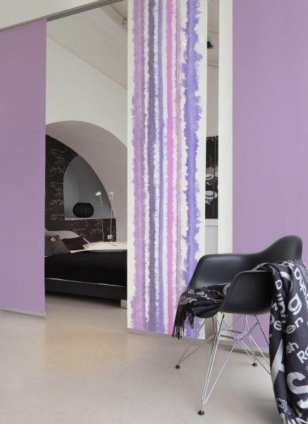 1-teiliger Flächen-Schiebevorhang Emotion Textiles Aquarell Streifen pastell lila