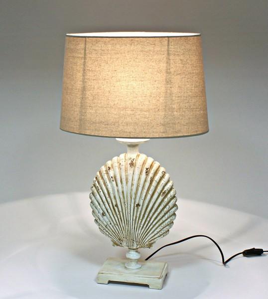 """Beauty.Scouts Tischleuchte """"Muschel"""" 59cm Maritim Fisch Braun Beige Lampe Tischlampe"""