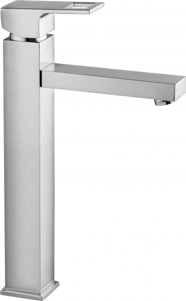 """Badezimmerarmatur """"Pearl"""" Einloch-Waschbeckenarmatur mit erhöhtem Fuss silber verchromt modern elega"""