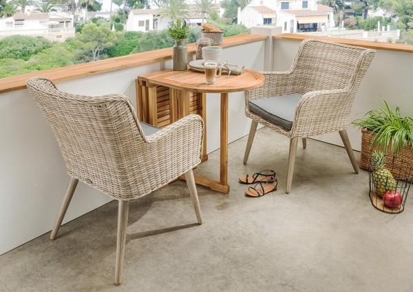 """3-tlg. Balkonset """"Santos"""" Rattan natur Polyrattan inkl. Polster grau Tisch u 2 Stühle"""