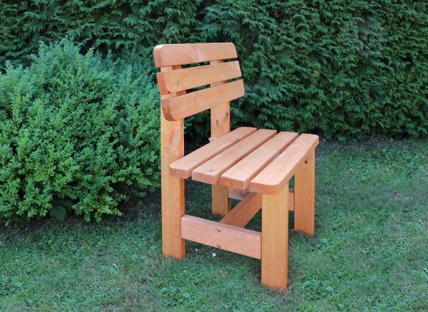 "Gartensessel ""Jupp"", honigbraun, 70 x 51 x 90 cm, rustikaler Gartenstuhl, massiv Holz, Garten"