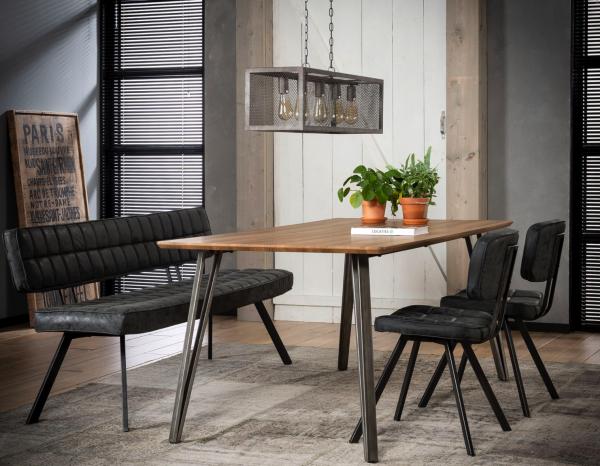"Sitzgruppe ""Luven"" 4x Stuhl 1x Polsterbank schwarz gepolstert Stahlgestell Vintage Look Essgruppe"