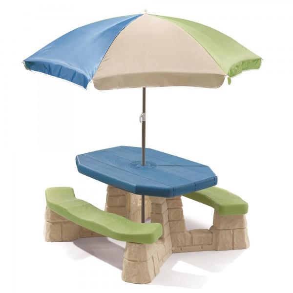 """Picknick-Set """"Jenny"""" aus Kunststoff mit Sonnenschirm in braun grün 103,5x109,2x152,4cm Picknicktisch"""