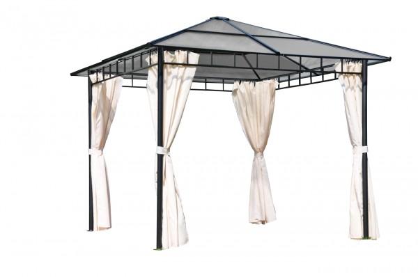 "Pavillon ""Bright"" anthrazit grau braun natur Polyester 300x300x270cm Sonnendach"