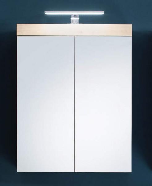 """Spiegelschrank """"Ludwig"""", 60x77x17 cm, Asteiche Dekor, Badezimmerschrank, mit Beleuchtung, Badezimmer"""