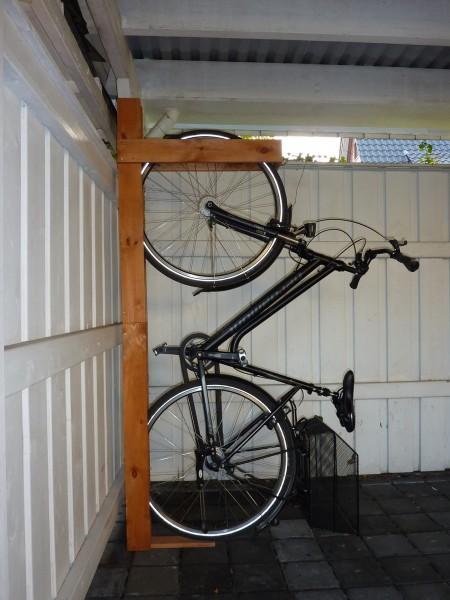 """Fahrradhalterung """"Veronika"""", Kiefer, honigbraun, 190 x 13,6 x 70 cm, für 2 Fahrräder, Garage"""