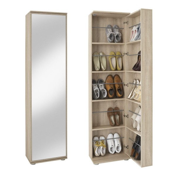 """Schuhschrank, Garderobe """"Vayu Grande"""" weiß, 74x190x29,5cm, mit SpiegelSchuhschrank, Garderobe """"Vayu Grande"""" weiß, 74x190x29,5cm, mit Spiegel"""