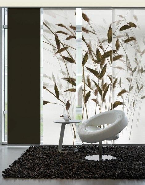 3-teiliger Flächen-Schiebevorhang Emotion Textiles Gras 3D sepia 180 x 260 cm