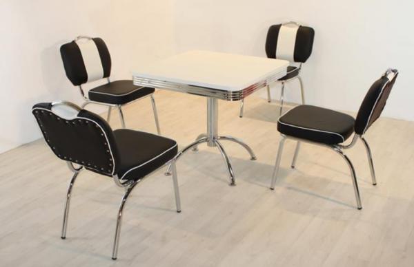 """Tischgruppe Set """"Biscayne I"""" Diner Set schwarz/weiss Säulentisch 4xStuhl Küchenset Essgruppe"""