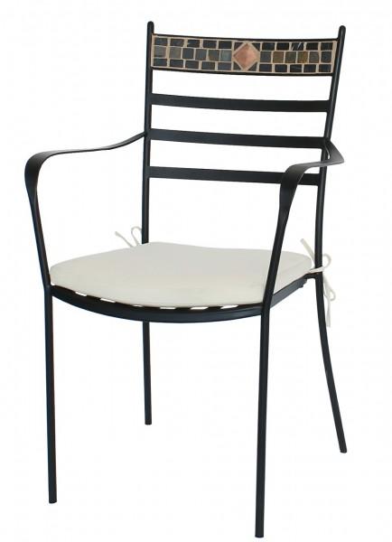 """4er Set Dining Sessel """"Malur"""" 4x Gartenstuhl Balkonstuhl Bistrostuhl Stahl Mosaik"""