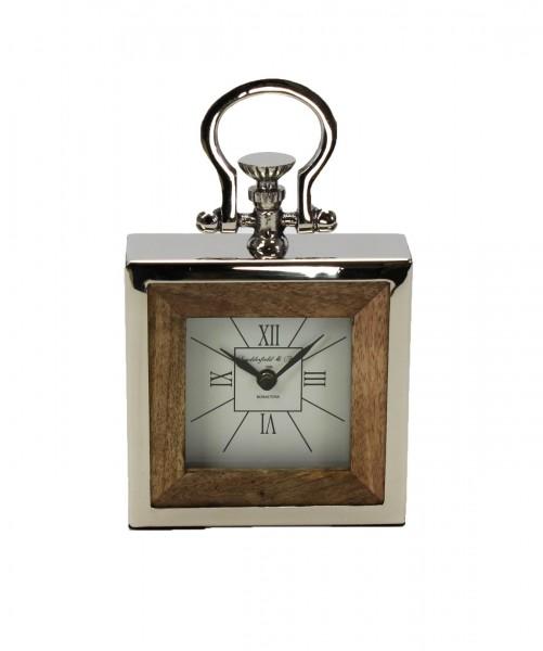 """Kaminuhr Uhr """"Ladderfield"""" aus massiven Holz / Edelstahl, 15x27 cm, silber braun"""
