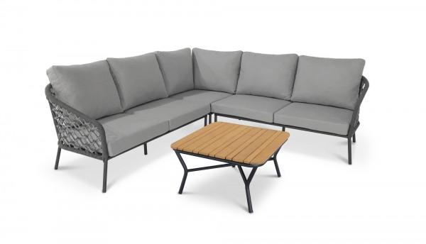 "Lounge Gruppe ""Antali"" 4-tlg. anthrazit/grau 2-Sitzer (recht+links) Eckteil Tisch Makramee-Art"