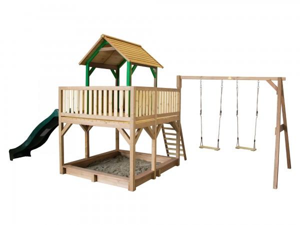 """Holzspielhaus """"Tafil"""" mit Veranda + Leiter + Rutsche + Sandkasten + 2x Schaukel 277x613x291cm Holz"""