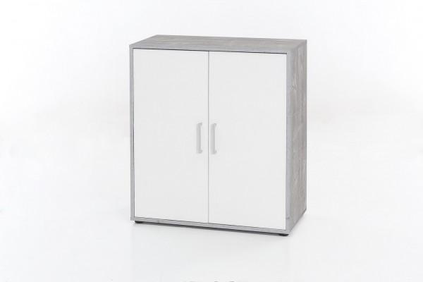 """Kommode """"Linda"""", Beton/weiß, 73 x 85 x 37 cm, 2 Türen, 1 fester Boden"""