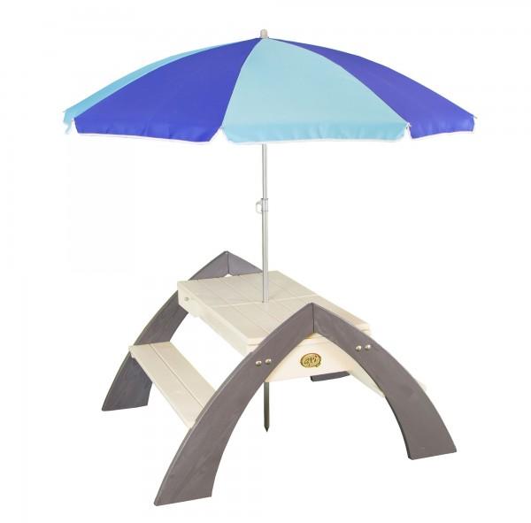 """Picknick-Set """"Aline"""" aus Zedernholz mit Sonnenschirm in weiß grau 98x119x65cm Wassertisch"""