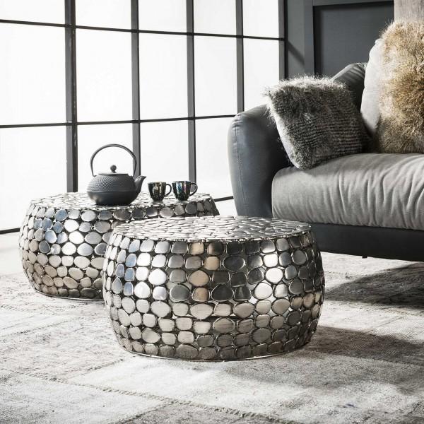 """2er Set Couchtisch Tisch """"Tanhua"""" Flachstahlkiesel silber 55x55x28cm, 66x66x30cm Wohnzimmertisch Zijlstra"""